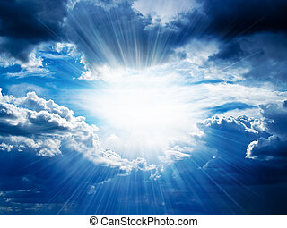 Rays of sunshine breaks through the dark clouds. ?oncept of hope for the best, mood changes, enthusiasm, optimism, faith in our own strength, the breakthrough goal