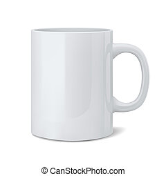3d illustration of realistic classic white cup