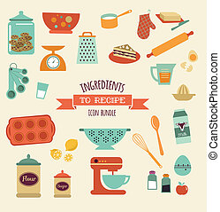 recipe and kitchen vector design and icon, elements set