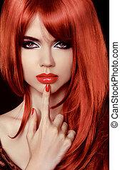 Red Hair. Beautiful Sexy Girl. Healthy Long Hair. Beauty Model Woman. Lips. Polish Nail. Hairstyle
