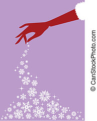 red hand with snowflakes, vector
