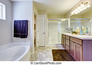 Refreshing white bathroom with glass door and bath tub