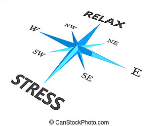 relax stress and relax words on compass conceptual image