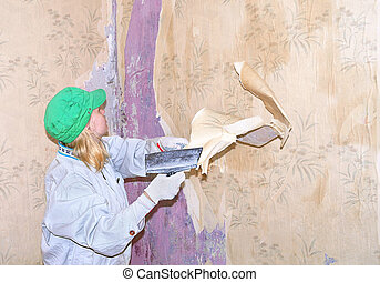Wallpaper removing by spatula
