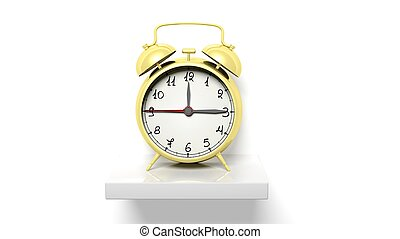 Retro gold alarm clock on white wall shelf