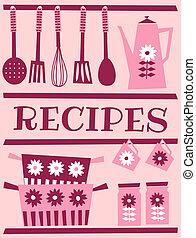 Illustration of kitchen accessories in retro style. Recipe card design.
