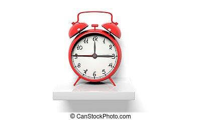 Retro red alarm clock on white wall shelf