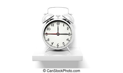 Retro silver alarm clock on white wall shelf