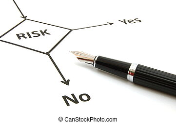 risk management chart and pen showing business concept