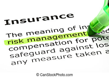 'Risk management' highlighted in green, under the heading 'Insurance'