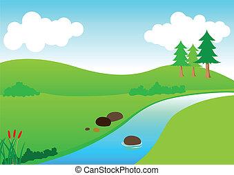 Stock vector of river scenery