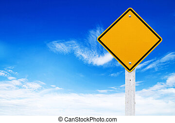 Road signs, Blank yellow warning with sky background (Clipping