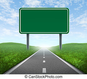 Road with blank highway sign with green grass and asphalt street representing the concept of journey to a focused destination resulting in success and happiness.