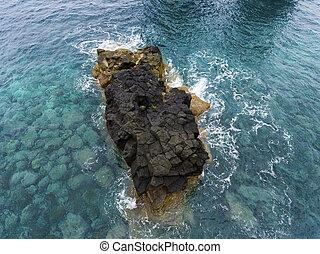 Rock in Ribeira da Janela, Madeira, Portugal