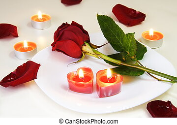 Inviting Table with Rose and Candles for Romantic Meal