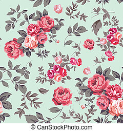 Decorative seamless pattern with beautiful shabby roses