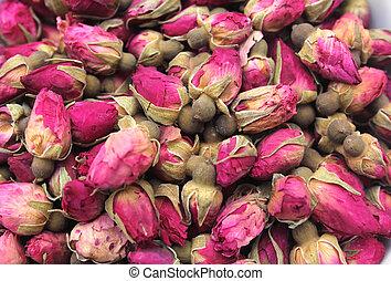Rosebud Tea Close up in Farmers Market