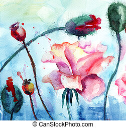 Roses with poppy flowers, Watercolor painting