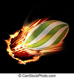 Rugby ball through fire