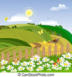 Rural landscape with a fence