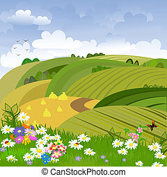 Rural landscape with flower meadow