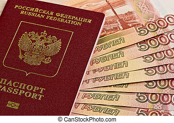 Russian passport and Russian banknotes