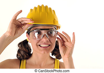 safety hat and glasses