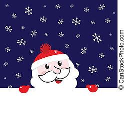 Santa blank banner, night snowing winter background - vector