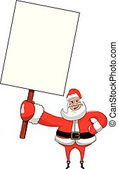 Santa claus cartoon holding and showing blank white billboard sign isolated