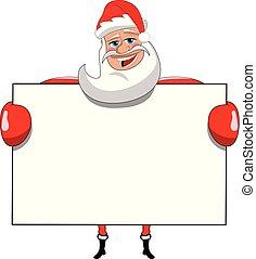 Santa claus cartoon holding blank white billboard sign isolated