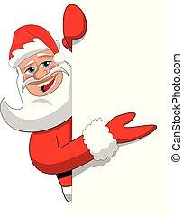Santa claus cartoon presenting blank white billboard sign isolated