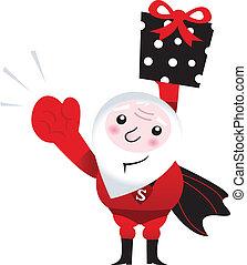 Santa superhero holding big christmas present isolated on white
