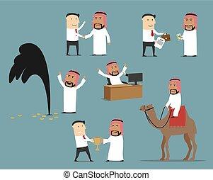 Saudi arabian businessman cartoon character set