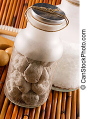 Scented pumice stones and bath salt