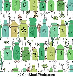 Seamless pattern with bottles full of herbs. Endless texture for season design