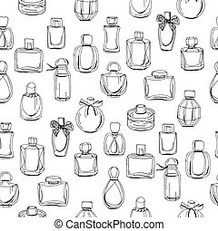 Seamless pattern with different bottles of woman perfume. Endless texture for fashion design, wrappings, fabrics.