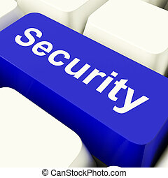 Security Computer Key In Blue Showing Privacy And Online Safety
