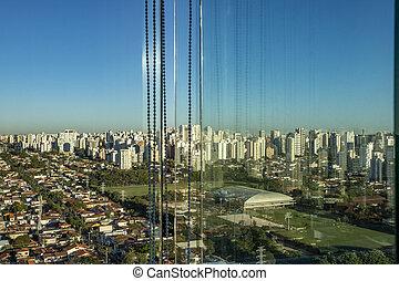 Seen through the window. City of Sao Paulo seen through the window, Brazil.