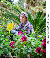 Senior adult woman loves gardening because it is stimulated her mind and body