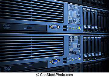 Servers Stack With Disc Drives In Rack