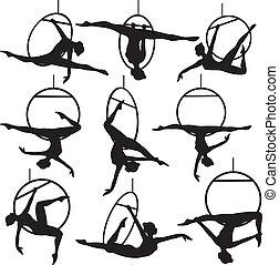 Set of aerial hoop acrobat woman silhouette