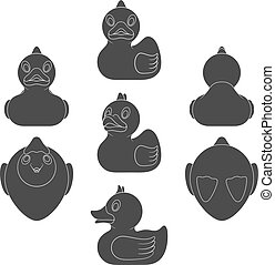 Set of black and white images with a toy duck. Isolated vector objects.