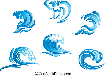Set of blue surf ocean waves isolated on white background