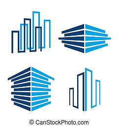 set of building icons, vector illustration