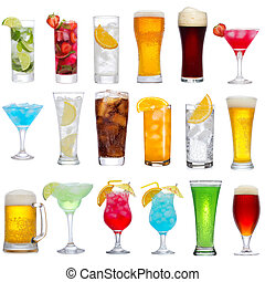 Set of different drinks, cocktails and beer on white background