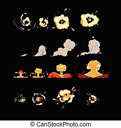 Set of explosion clouds in cartoon comic style.