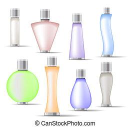 Set of fragrance bottles isolated on white background