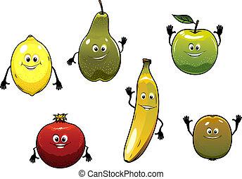Set of happy fresh cartoon fruits