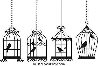 set of ornamental vintage birdcages with birds, vector background