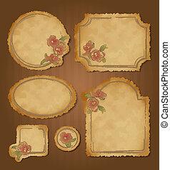Set of retro floral vintage frames